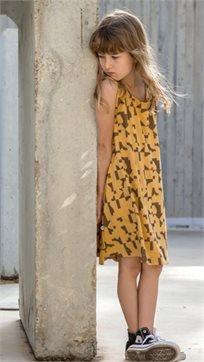 MAYAYA שמלת גופייה (2-14 שנים) חרדל הדפס פאזל