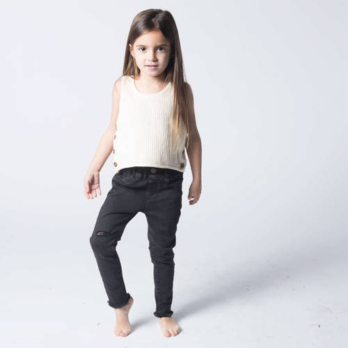 Oro ג'ינס סקיני קרע למטה (7-2 שנים)- אפור