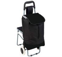 עגלת קניות בצבע שחור הכוללת כיסא מתקפל הנפתח בקלות, גלגלים וידית לאחיזה