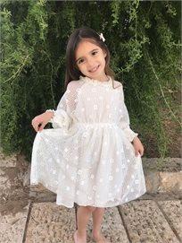 ORO שמלת תחרה (7-2 שנים)- לבן