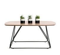 שולחן קפה עם פלטת עץ בצבע אגוז בעיצוב מודרני