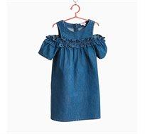 שמלת ג'ינס עם פתח בכתפיים ועיטורי מלמלה לילדות בצבע נייבי