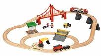 סט ענק של רכבת עם קטר חשמלי, גשר, מחסום ומנוף 37 חלקים