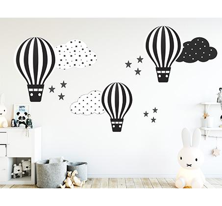 מדבקת קיר לעיצוב חדר ילדים בסגנון נורדי בדוגמת כדור פורח