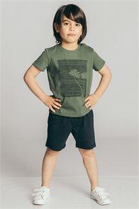 חולצת טריקו קצרה לבנים - ירוק זית