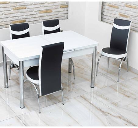 פינת אוכל נפתחת מזכוכית כולל 4 כסאות במראה קלאסי