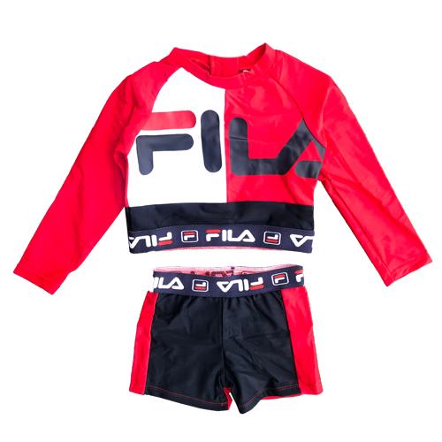 Fila / בגד ים שרוול (מידות 12 חודשים- 6 שנים)  - אדום