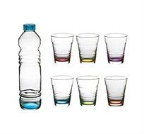 סט שתייה קרה 7 חלקים, כולל בקבוק ו-6 כוסות עם תחתית צבעונית מסדרת ספרינג