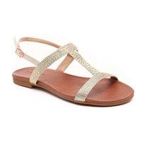 Inuovo - סנדל רצועות שטוח לנשים בעיצוב חבלים בצבע זהב מטאלי
