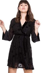 שמלת מעטפה שיפון - שחור