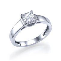 """טבעת אירוסין סוליטר זהב לבן """"רוברטה"""" 0.51 קראט בשיבוץ יהלום פרינסס"""
