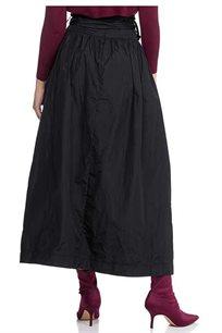 חצאית בלון מקסי עם חגורת קשירה בצבע שחור
