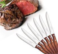 """שישיית סכיני סטייק 10.5 ס""""מ עם ידית עץ דחוסה מסורתית - מבית ARCOS המותג המקורי מספרד!"""