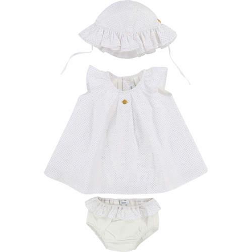 Boss בוס (6 חודשים) סט שמלה ותחתון - לבן נקודות זהב