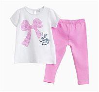 סט חולצה ומכנסיים OVS לתינוקות וילדות - לבן וורוד עם הדפס פפיון