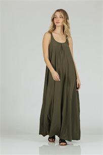 שמלה סאטן כתפיות ירוק