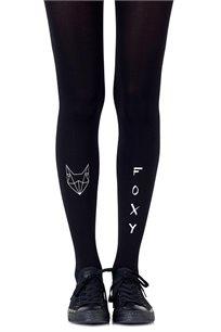 גרביון עם הדפס אפור בהיר Foxy Black בצבע שחור