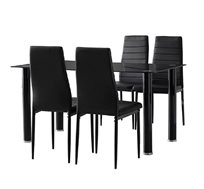 פינת אוכל מודרנית המשלבת מתכת וזכוכית וכוללת שולחן ו-4 כסאות דגם ונציה Homax