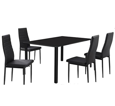 פינת אוכל מודרנית Homax המשלבת מתכת וזכוכית וכוללת שולחן ו-4 כסאות  - תמונה 2