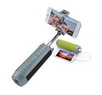 רמקול בלוטוס אלחוטי נייד משולב מוט סלפי טלסקופי ומטען חרום לכל סוגי הטלפונים