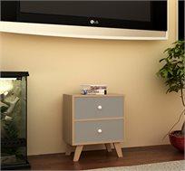 מעמד שתי מגירות מעוצב דגם ברוקלין עשוי מעץ משולב באפור או לבן לבחירה