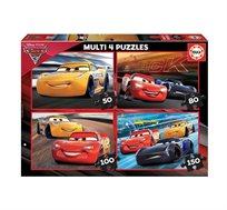 מארז מולטי פאזל הכולל 4 פאזלים 50+80+100+150 חלקים בדגמי מכוניות 3 EDUCA