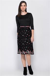 חצאית אריג בהדפס פרחים צבעוני