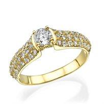 """טבעת אירוסין """"קיילה"""" זהב צהוב 0.85 קראט"""