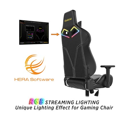 כיסא גיימינג Gamdias ACHILLES E1 כולל כרית ראש וגב עם תאורת RGB בגב הכיסא וגב מתכוונן עד 150 מעלות - תמונה 4