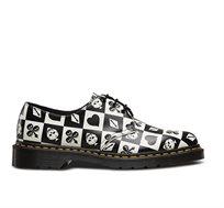 נעלי DR MARTENS - EGRET1461 בצבע שחור לבן משובץ עם הדפס גולגולות
