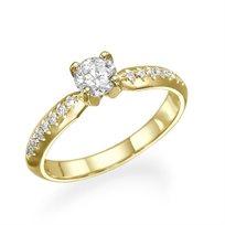 """טבעת אירוסין קלאסית """"אלכס"""" זהב צהוב ושיבוץ יהלומים  0.55 קראט"""