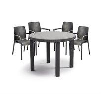 """פינת ישיבה לגינה דמוי ראטן שולחן עגול 96 ס""""מ ו4 כיסאות סולו"""