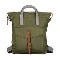 Roka - תיק גב מעוצב ירוק צבאי עם חגורת אבזם חומה