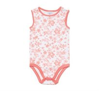 מארז 2 בגדי גוף ללא שרוולים לתינוקות בצבע לבן עם הדפסי פרחים