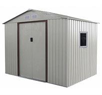 מחסן מתכת גדול לאחסון בחצר עם דלתות הזזה ופתחי אוורור