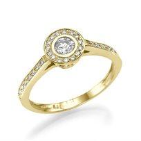 """טבעת אירוסין זהב צהוב """"כרמן"""" 0.51 קראט בעיצוב יוקרתי ונוצץ"""