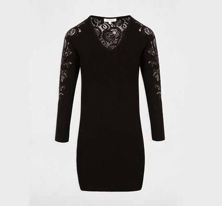 שמלת סריג לנשים בשילוב תחרה פרחונית MORGAN - שחור