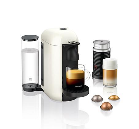 מכונת NESPRESSO וורטו פלוס בצבע לבן כולל מקציף חלב ארוצ'ינו  A3GCB2-IL-WH-NE