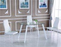 פינת אוכל קטנה ומעוצבת בסגנון מודרני בשילוב של זכוכית ורגלי ניקל מצופות כולל 4 כיסאות מבית SIRS