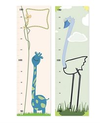 מד גובה לחדר ילדים ותינוקות עם איורים שמעוררים את הדמיון, עשוי מנייר פוטו מט 140 גרם בגודל 100*30
