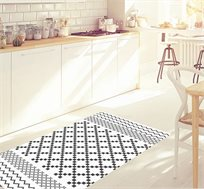 שטיח פיויסי דגם שחור לבן מעוצב ומודרני בגדלים לבחירה