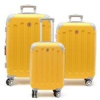 Swiss Travel Club - סט 3 מזוודות 201 קשיחות בצבע חרדלאפור