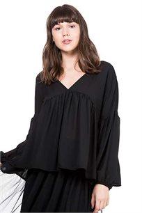 חולצת שיפון רחבה פפלום פנינה בצבע שחור