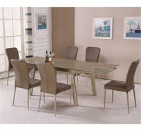 פינת אוכל בסגנון מודרני בשילוב זכוכית וניקל כולל שישה כיסאות תואמים