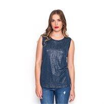 חולצת קיץ קצרה כחולה ללא שרוול מפתח עגול