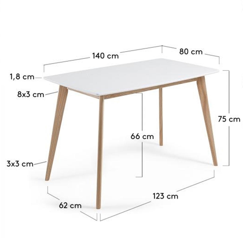 שולחן פינת אוכל בעיצוב מודרני בצבע לבן בעל רגלי עץ חזקות  - תמונה 4