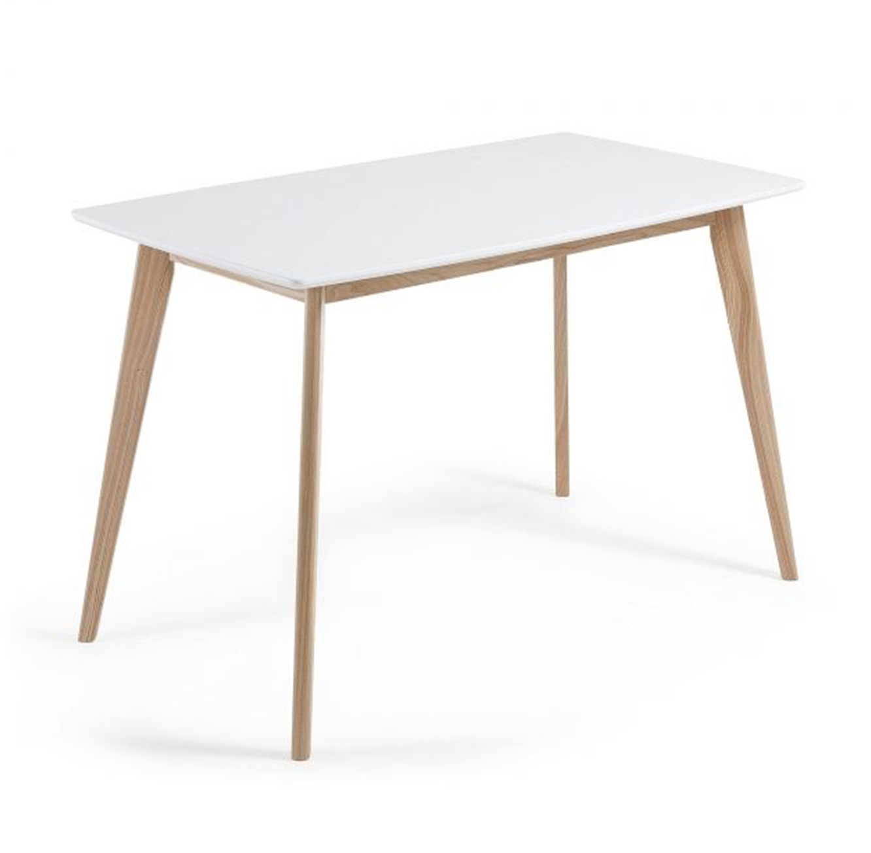 שולחן פינת אוכל בעיצוב מודרני בצבע לבן בעל רגלי עץ חזקות  - תמונה 2
