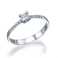 """טבעת אירוסין """"לוסי"""" 0.25 קראט זהב לבן בעיצוב קלאסי"""
