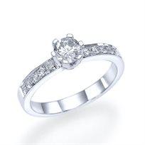 """טבעת אירוסין קלאסית """"ורוניק"""" זהב לבן 0.65 קראט"""