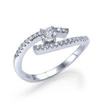 """טבעת אירוסין """"לין"""" 0.45 קראט טוייסט זהב לבן"""